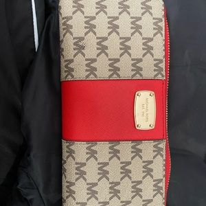 Red accent michael kors wallet